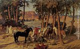 Frederick Arthur Bridgman Canvas Paintings - An Arab Encampment