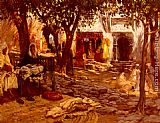 Frederick Arthur Bridgman Canvas Paintings - An Eastern Courtyard