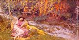 Frederick Arthur Bridgman Famous Paintings - Reclining By A Stream