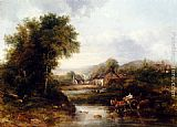 Famous Cattle Paintings - An Extensive River Landscape With A Drover In A Cart With His Cattle