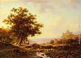 Frederik Marianus Kruseman - An Extensive River Landscape With A Castle On A Hill Beyond