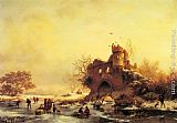 Frederik Marianus Kruseman - Winter Landscape with Skaters on a Frozen River beside Castle Ruins