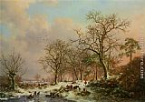 Castle Wall Art - Wood gatherers in a winter landscape with a castle beyond