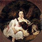 Friedrich August von Kaulbach - A Young Girl Resting In A Landscape With Her Dog