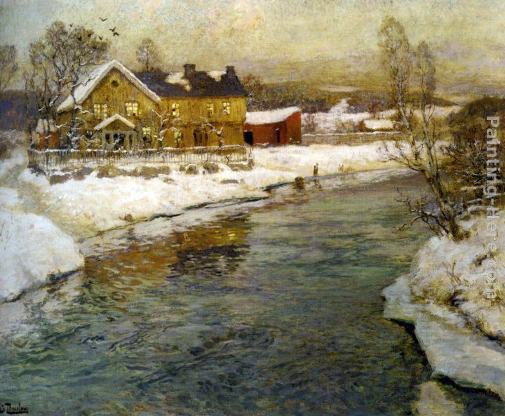 Fritz Thaulow Cottage by a Canal in the Snow