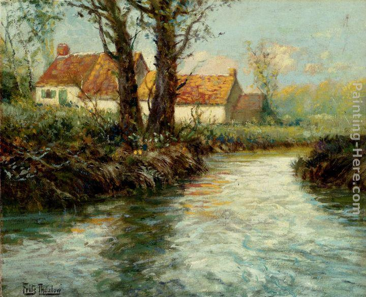 Fritz Thaulow House By The Water's Edge