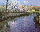 Fritz Thaulow A French River Landscape painting