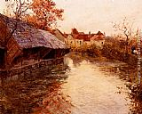 Fritz Thaulow A Morning River Scene painting