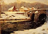 Fritz Thaulow - A Stone Bridge Over A Stream In Winter