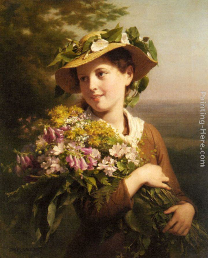 Fritz Zuber-Buhler A Young Beauty holding a Bouquet of Flowers