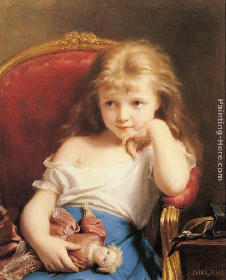 Fritz Zuber-Buhler Young Girl Holding a Doll