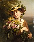 Fritz Zuber-Buhler - A Young Beauty holding a Bouquet of Flowers