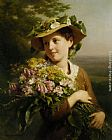 Fritz Zuber-Buhler - Young Beauty with Bouquet