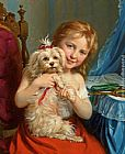 Fritz Zuber-Buhler - Young Girl with Bichon Frise