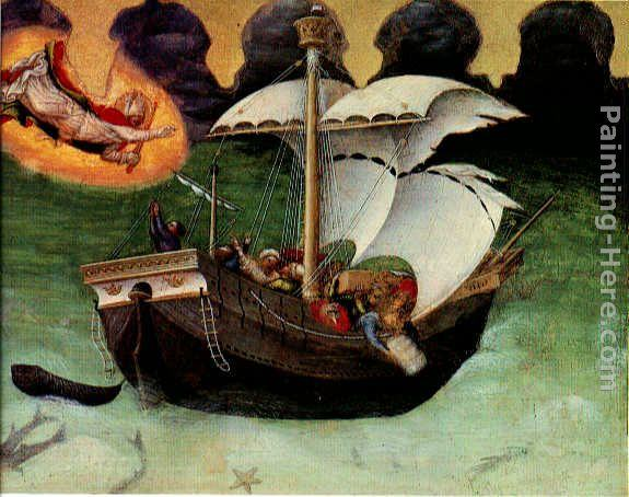 Gentile da Fabriano Quaratesi Altarpiece St. Nicholas saves a storm-tossed ship