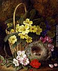 roses Wall Art - Still Life with Primroses, Violas, cherry Blossom and Geraniums and a Thrush's Nest
