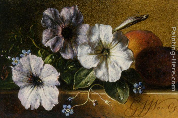 George Jacobus Johannes Van A Still Life with Flowers and Fruit