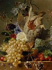 George Jacobus Johannes Van - Grapes Strawberries Chestnuts an Apple and Spring Flowers