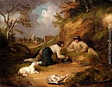 George Morland - Two Men Hunting Rabbits With Their Dog, A Village Beyond