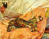 Georges Antoine Rochegrosse - A Portrait of Sarah Bernhardt, reclining in a chinois interior