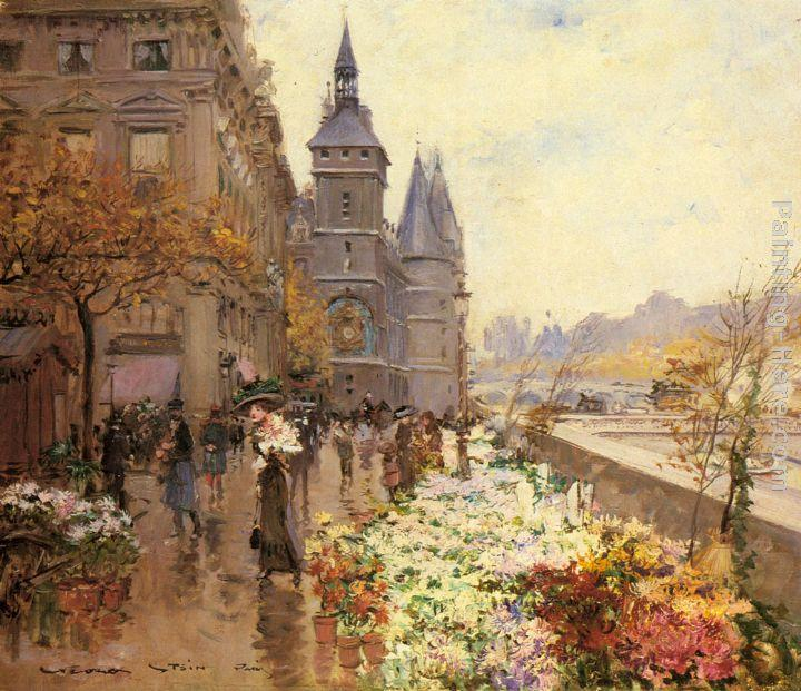 Georges Stein A Flower Market Along the Seine