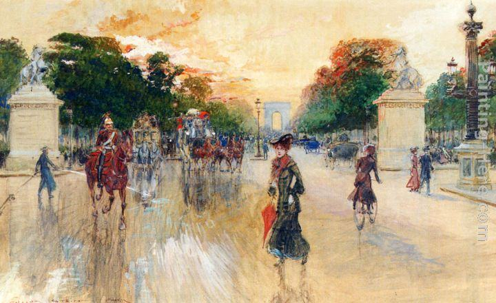 Georges Stein Busy Traffic On The Champs Elysees, Paris