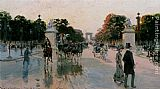 Georges Stein Les Champs Elysees au petit matin painting