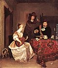 Gerard ter Borch - A Young Woman Playing a Theorbo to Two Men