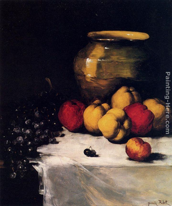 Germain Theodure Clement Ribot A Still Life With Apples And Grapes