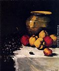Germain Theodure Clement Ribot A Still Life With Apples And Grapes painting