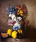Fruit Wall Art - A Still Life with a Vase of Flowers and Fruit
