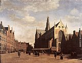 Market Wall Art - The Market Square at Haarlem with the St Bavo