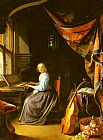 Playing Wall Art - A Woman playing a Clavichord