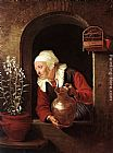 Gerrit Dou - Old Woman Watering Flowers