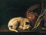 Gerrit Dou - Sleeping Dog with Terracotta Jug, Basket and Kindling Wood