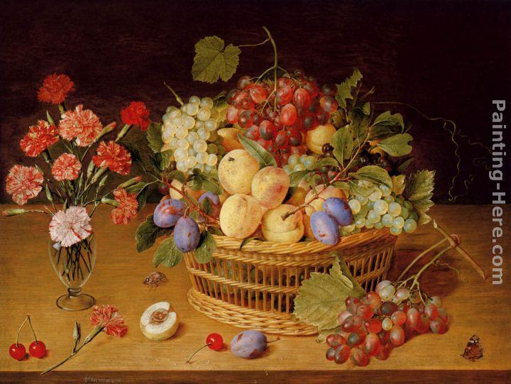 Gerrit van Honthorst A Still Life Of A Vase Of Carnations To The Left Of A Basket Of Fruit