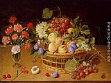 Vase Wall Art - A Still Life Of A Vase Of Carnations To The Left Of A Basket Of Fruit