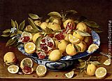 Fruit Wall Art - A Still Life Of A Wanli Kraak Porcelain Bowl Of Citrus Fruit And Pomegranates On A Wooden Table