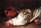 Hen Canvas Paintings - Still-Life with Hen, Onion and Pot