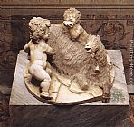 goat Wall Art - The Goat Amalthea with the Infant Jupiter and a Faun