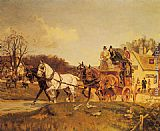 Famous Inn Paintings - A Coach and Four Leaving an Inn