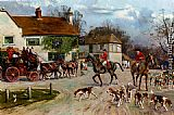 Famous Inn Paintings - The Hunt Outside The Old Bull Inn
