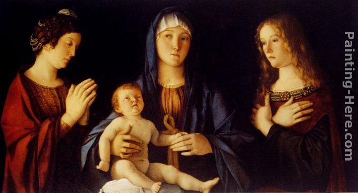 Giovanni Bellini Virgin And Child Between St. Catherine And St. Mary Magdalen
