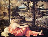 Giovanni Cariani - Reclining Woman in a Landscape