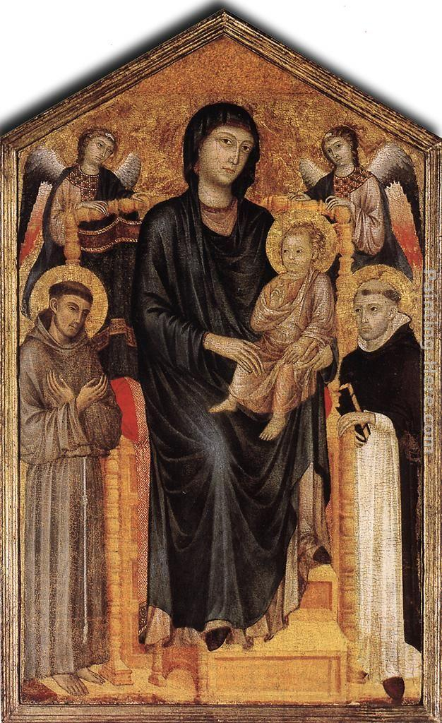 Giovanni Cimabue Madonna Enthroned with the Child, St Francis St. Domenico and two Angels