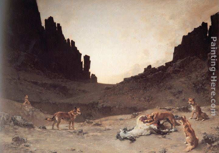 Gustave Achille Guillaumet Dogs of the Douar Devouring a Dead ...hourse