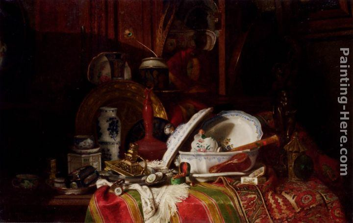 Gustave Jean Jacquet Still Life with Dishes, a Vase, a Candlestick and other Objects on a Draped Table
