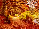 Famous Path Paintings - A Wooded Path In Autumn