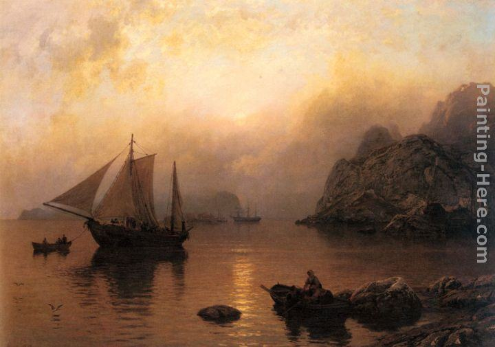 Hans Fredrik Gude Fishing Party At Sunrise