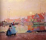 Figures Wall Art - A Dutch Fishing-Village At Dusk With Figures On A Quay